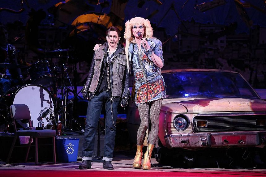 Lena Hall (left) and Neil Patrick Harris perform in Hedwig And The Angry Inch at the Belasco Theater in New York on April 3, 2014.