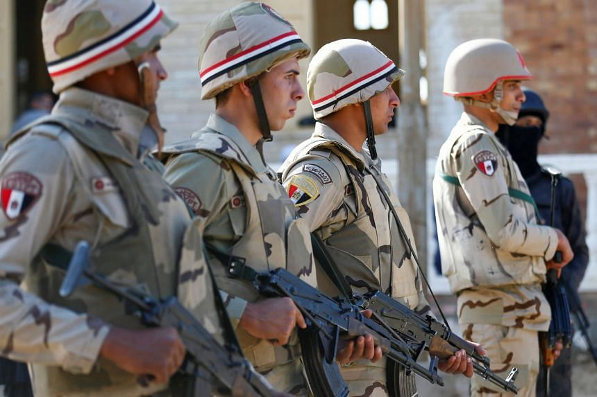 Military forces are seen in North Sinai, Egypt, Dec 1, 2017.