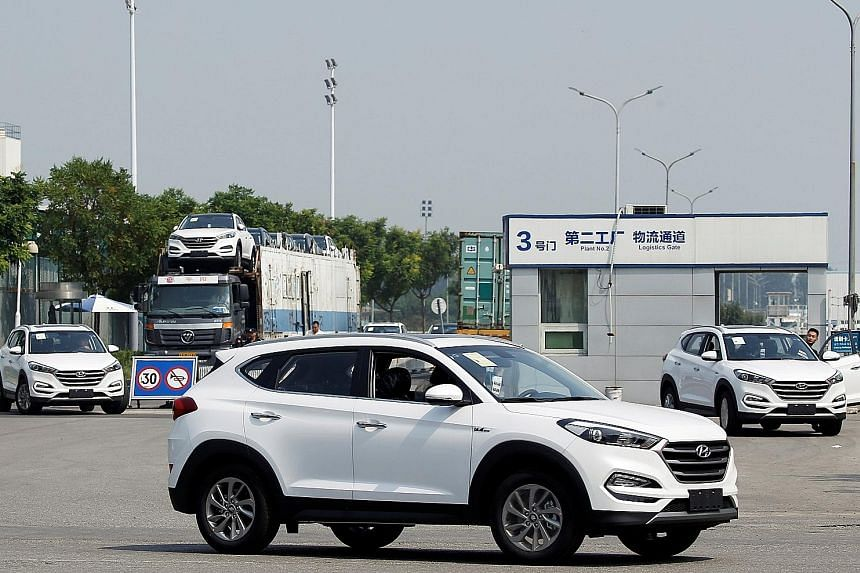 A Hyundai Motor plant in Beijing, China. Sales for Hyundai and affiliate Kia slumped 7 per cent last year from 2016, falling well short of the firms' target of 8.25 million vehicles, as buyers in China and the US increasingly shunned sedans for SUVs.