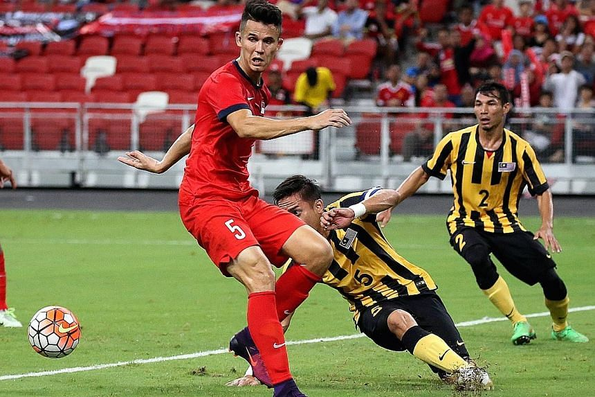 Former Lion Baihakki Khaizan facing Malaysia in 2016. He impressed Jeddah officials in his five-day trial and has been offered a contract.