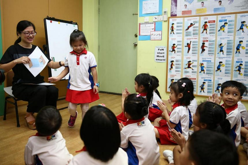 Children from PCF Sparkletots Preschool at Gambas attending a Chinese lesson developed by The Confucius Institute of Nanyang Technological University of Singapore.