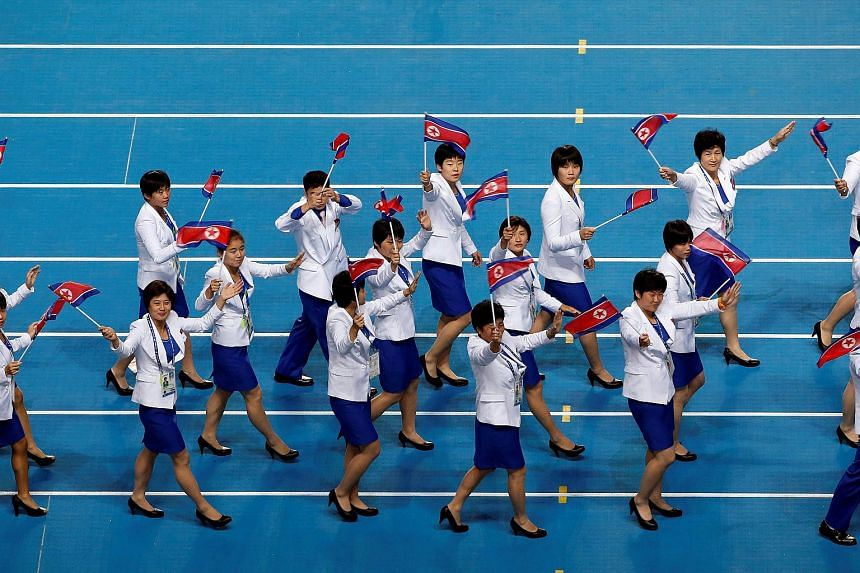 North Korean athletes walking into the Incheon Asiad Main Stadium during the closing ceremony of the 17th Asian Games in 2014.