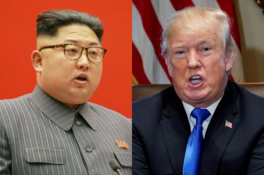 US President Donald Trump's (right) comments come after North Korean leader Kim Jong Un highlighted his nuclear button in a New Year message.