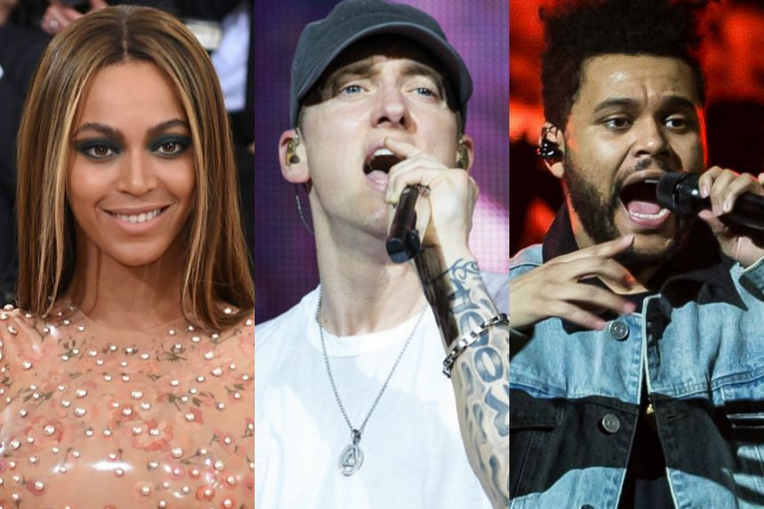 (From left) Beyonce, Eminem and The Weeknd will headline Coachella, marking the first time that no rock act will be among the main attractions.