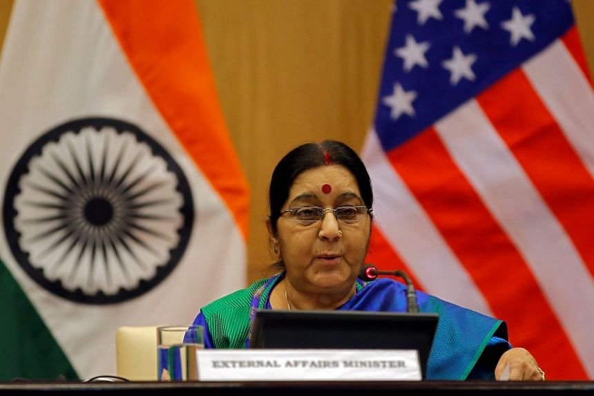 India's Foreign Minister Sushma Swaraj speaks at a media briefing in New Delhi, India on Oct 25, 2017.