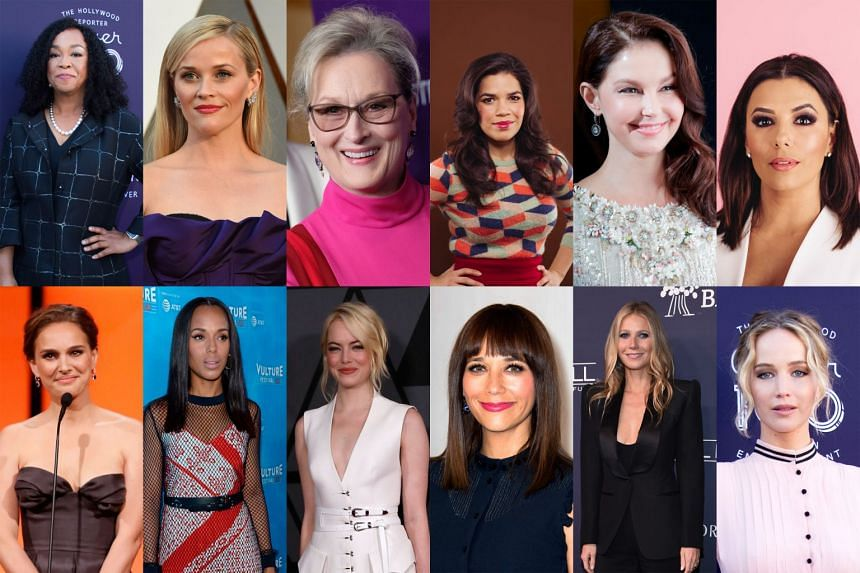 Involved with the movement Time's Up, which aims to fight systemic sexual harassment in Hollywood and blue-collar workplaces nationwide, are Hollywood A-listers and actresses such as (clockwise from above left) Shonda Rhimes, Reese Witherspoon, Meryl