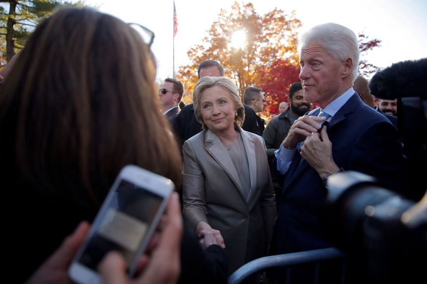 Hillary and Bill Clinton meeting supporters in Chappaqua, New York, in 2016.