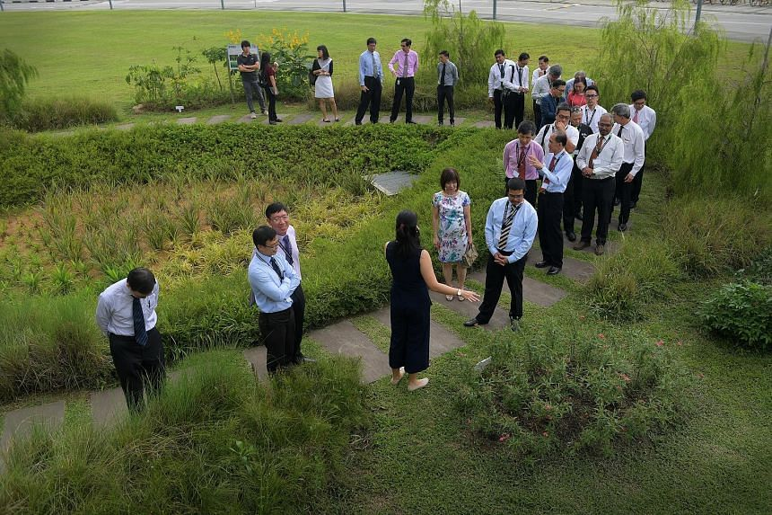 Dr Amy Khor (centre, in floral dress) and representatives from the waste management industry and academia touring the Rain Garden at Republic Polytechnic yesterday. The garden is an outdoor learning facility, built in collaboration with national wate