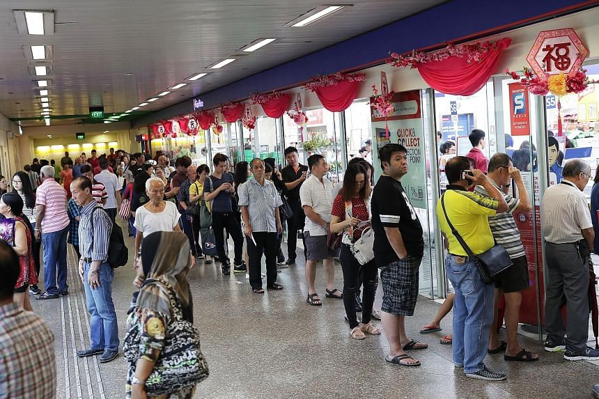 Long queues formed at NTUC FairPrice in Toa Payoh Central yesterday for tomorrow's $9.7 million New Year draw. On its website, Singapore Pools said punters could start placing bets from Tuesday this week at all its branches, authorised retailers and
