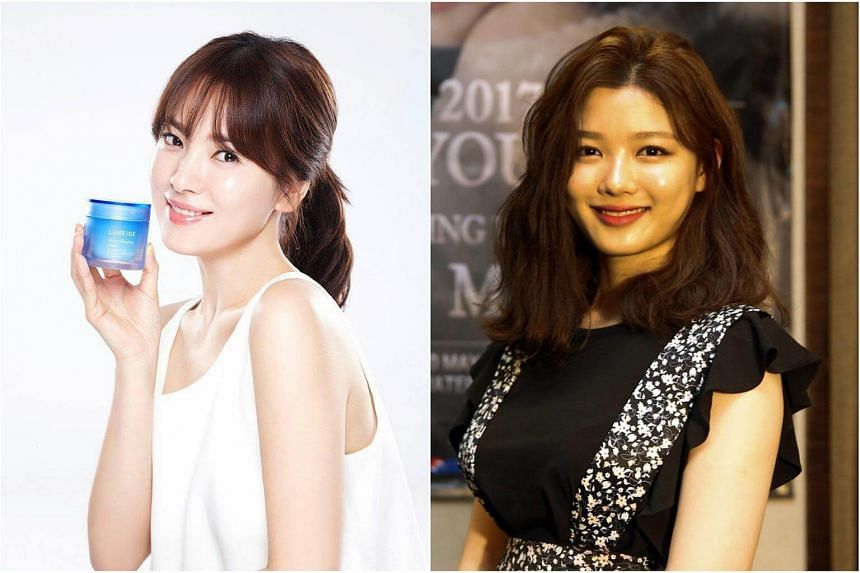 Actress Song Hye Kyo (left) will be succeeded by rising star Kim You Jung as the face of cosmetics brand Laneige.