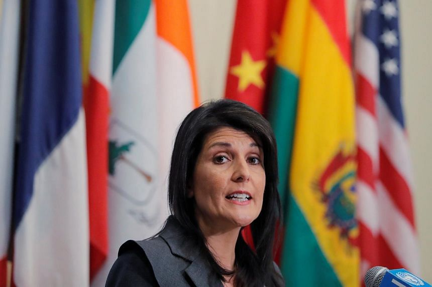 US ambassador to the United Nations (UN) Nikki Haley speaks at the UN headquarters in New York on Jan 2, 2018.