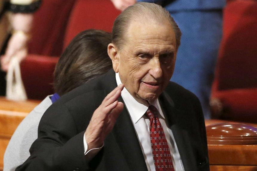 Thomas Monson at the 184th annual general conference of The Church of Jesus Christ of Latter Day Saints in Salt Lake City, Utah in April 2014.