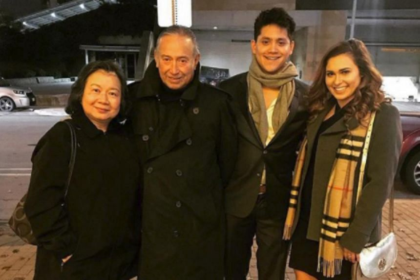 Swimmer Joseph Schooling was pictured with his parents Colin and May, as well as fellow UT undergraduate Mikaela Martinez in the United States.