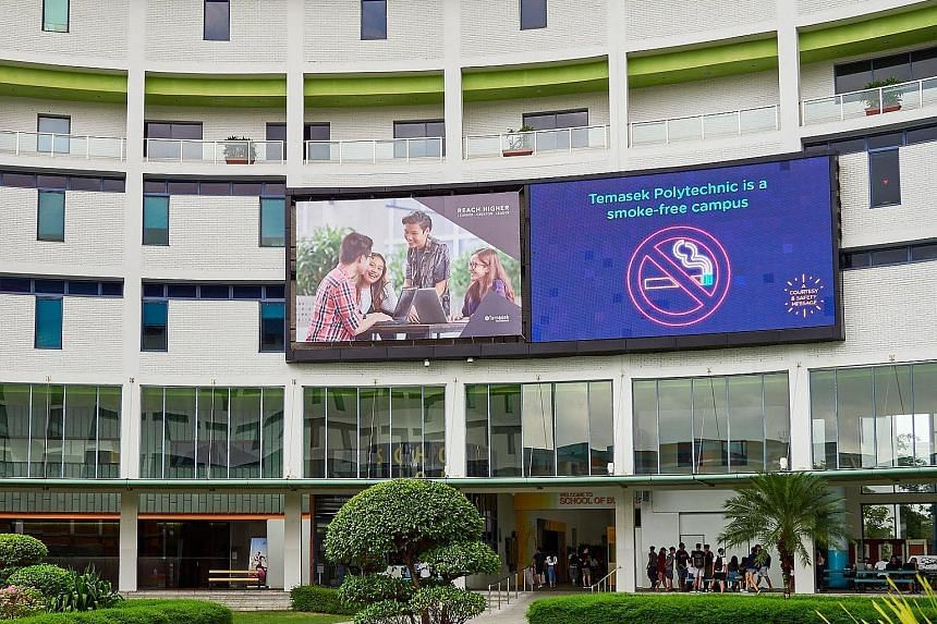Besides daily reminders on digital screens and e-mails to students, Temasek Poly worked with the Health Promotion Board to roll out the Student Health Advisor scheme, which includes smoking cessation programmes conducted by HPB nurses.