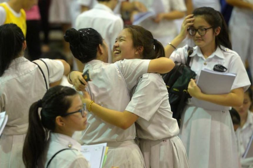 Students from Chung Cheng High School (Main) celebrating after receiving their O-level results on Jan 11, 2016.