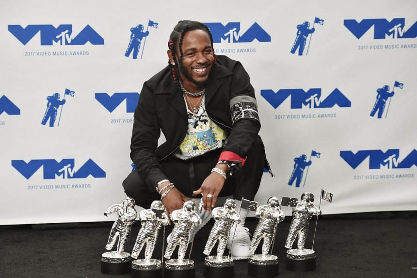 Rapper Kendrick Lamar poses in the press room during the 2017 MTV Video Music Awards on Aug 27, 2017.