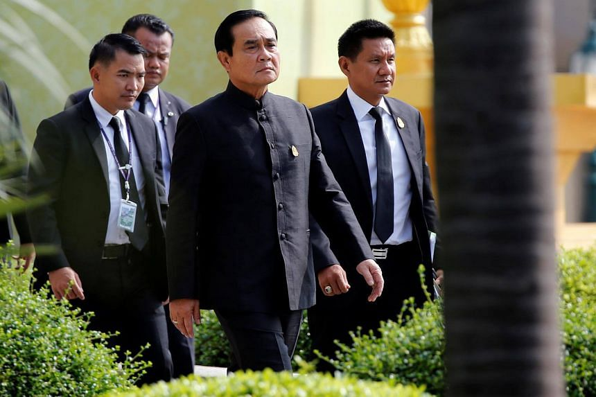 Thai Prime Minister Prayuth Chan-ocha at a weekly cabinet meeting as the junta marked the third anniversary of a military coup in Bangkok on May 23, 2017.