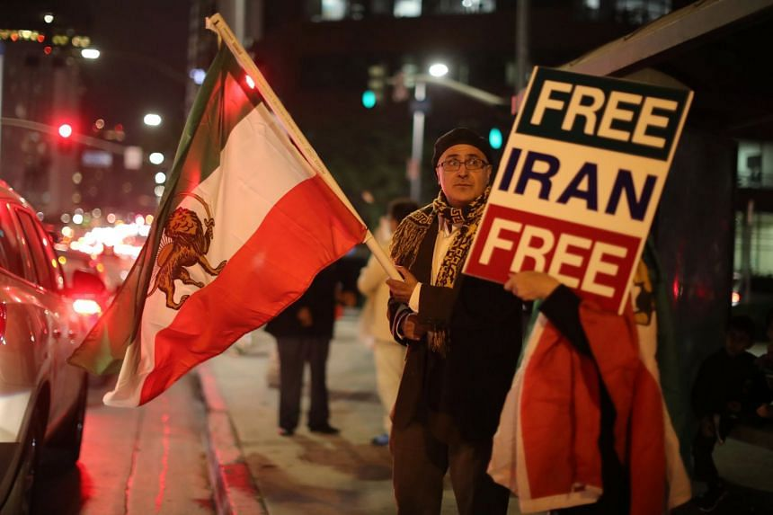 People protest in Los Angeles, California, in support of anti-government protesters in Iran, Jan 3, 2018.