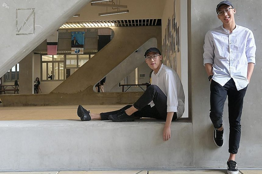 Twins Lim Zeharn (left) and Lim Zeherng scored full marks in the IBCP at Sota. The arts school had its best performance for the programme, with over 90 per cent of students achieving excellence. Under the IBCP, students take four core subjects, two d
