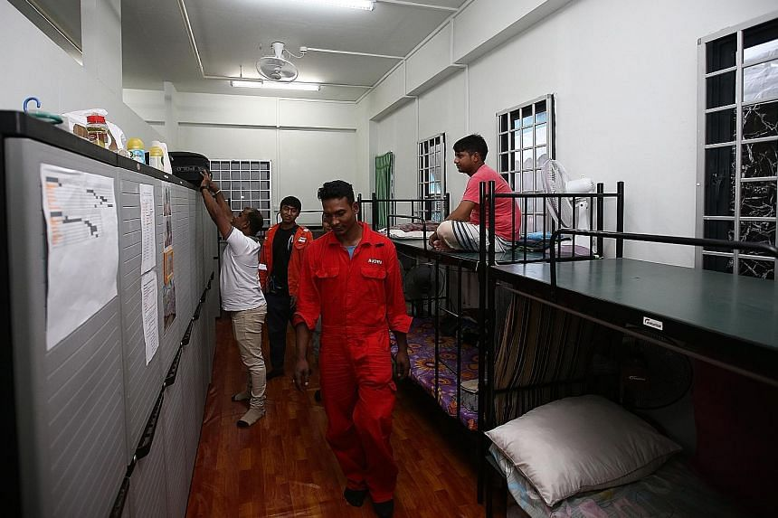 The 7,900-bed dorm, called Aspri-Westlite Dormitory - Papan, is the first of its kind in Singapore with an attached training centre, which is run by the Association of Process Industry and offers subsidised courses. The dorm, which is a 12-