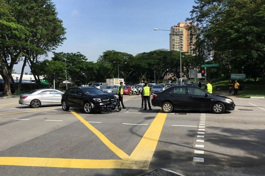 Two cars collided at a junction in Thomson Road on Jan 6.