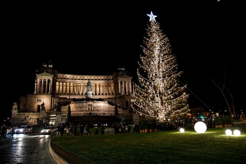 """The Christmas tree known as """"Spelacchio"""" at The Piazza Venezia in Rome. The tree may end up on display in Rome's MAXXI modern art museum."""