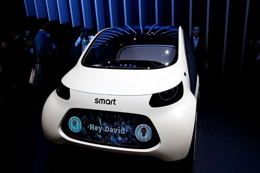 A Smart Vision EQ FourTwo is displayed during preview of the 45th Tokyo Motor Show, on Oct 25, 2017.