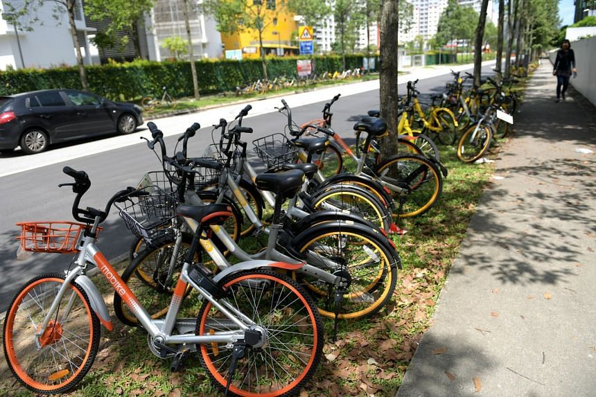 A row of shared cycles seen in Woodlands Drive 64 in December 2017.