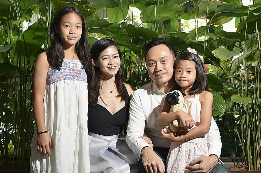 Ms Lim Ee Ling, 31, chief executive of edtech platform Smarter Me, and her husband Liaw Yit Ming, 36, who is the start-up's chief strategy officer, with their children Katrina, 11, and Charlotte, eight.