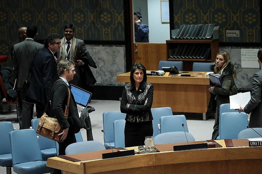 US ambassador Nikki Haley before the start of a UN Security Council she had convened on Friday concerning the situation in Iran.