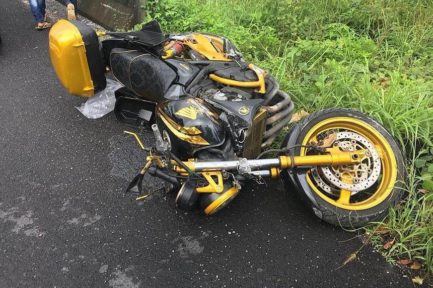 The motorbike Mr Ng Yong Sing was riding in the accident in Phatthalung, Thailand. In Malaysia, speeding may have been a factor for Singaporeans being killed on roads there, said Dr Wong Shaw Voon, director-general of the Malaysian Institute of Road