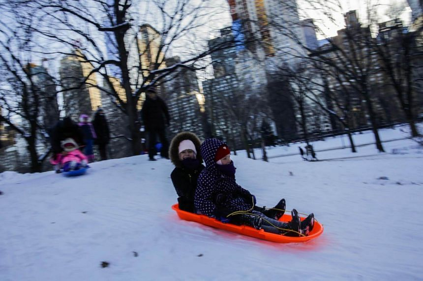 Children sled in the snow in New York City's Central Park during freezing temperatures on Jan 6, 2018.