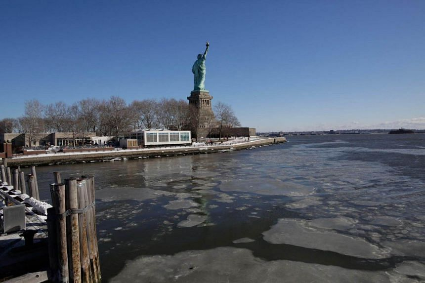 The Statue of Liberty is seen amidst the icy Hudson River during freezing temperatures in New York City on Jan 6, 2018.