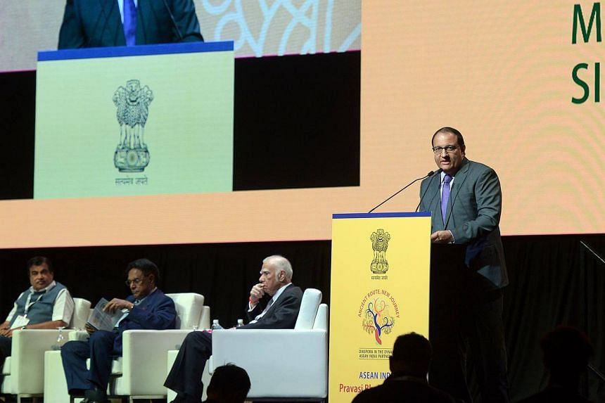 Singapore Minister for Trade and Industry (Industry), S. Iswaran addresses delegates at the Asean-India Convention at the Marina Bay Sands Convention Centre, on Jan 6, 2018.