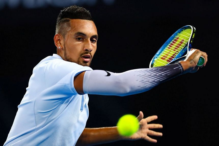 Nick Kyrgios hitting a shot to Ryan Harrison during the Brisbane International finals on Jan 7, 2018.
