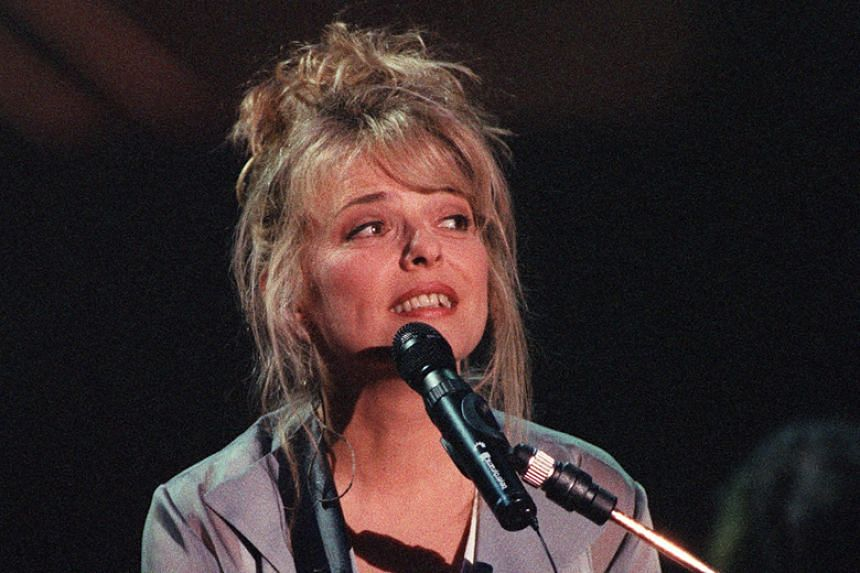 Gall performing one of her successes on stage at the Palais Omnisports of Paris-Bercy on Sept 12, 1993.