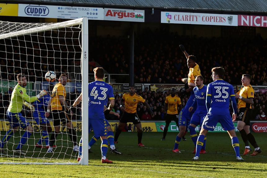 Newport County's Shawn McCoulsky scores their second goal against Leeds United in the FA Cup third round on Jan 7.