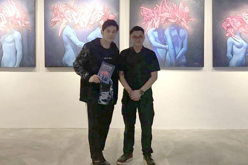 Jay Chou with local artist Jahan Loh at The Culture Story art gallery in Redhill.