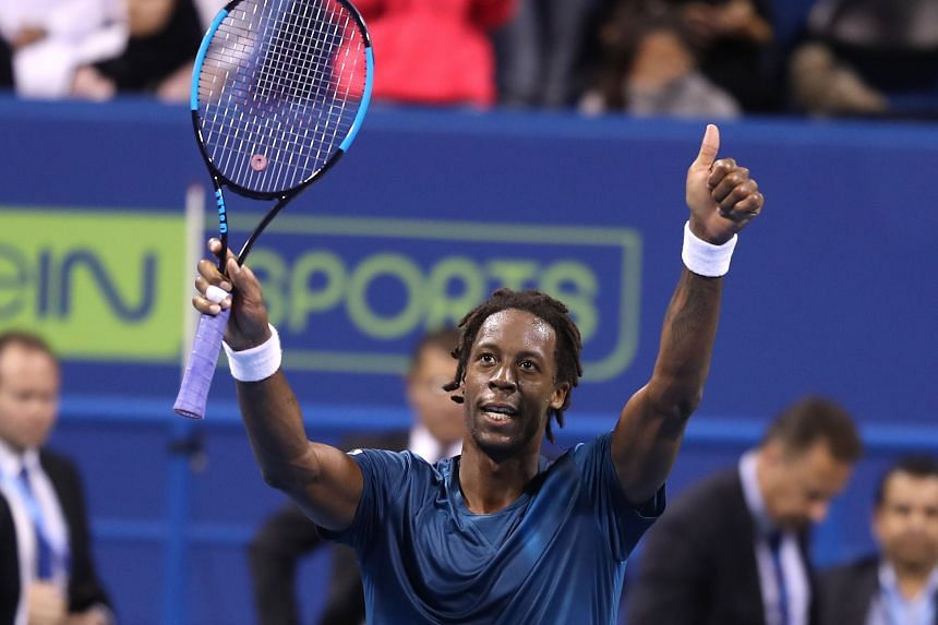 Monfils celebrates after beating Russia's Andrey Rublev.