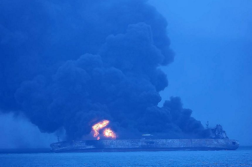 The Sanchi oil tanker engulfed in flames yesterday after it collided with a Chinese bulk ship in the East China Sea on Saturday. The 32 missing crew members were from the tanker, which was carrying Iranian oil and sailing from Iran to South Korea whe