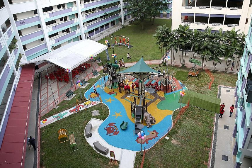 The 185 sq m playground has hammocks and a central tree-like climbing structure.