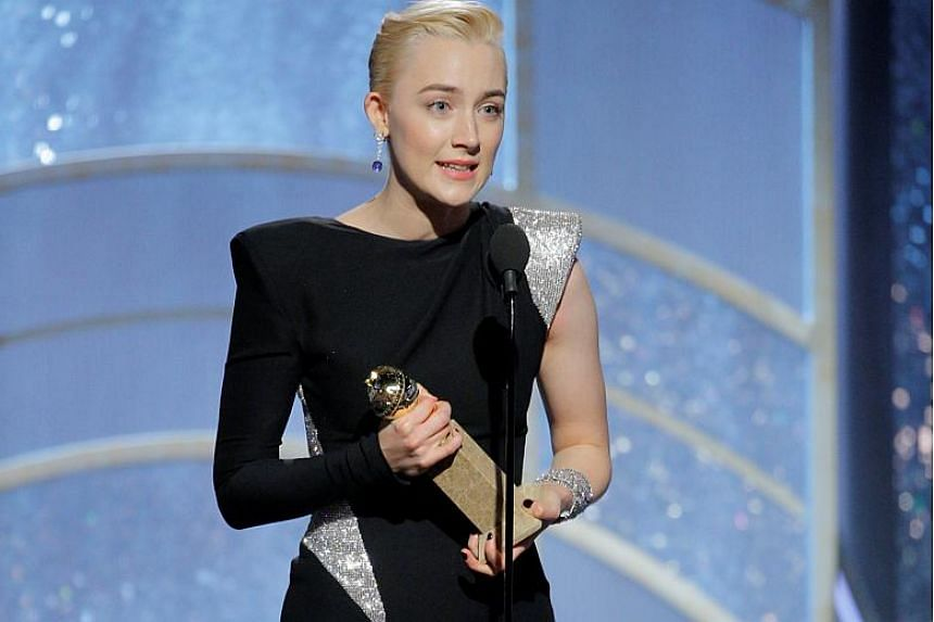 Saoirse Ronan wins Best Performance by an Actress in a Motion Picture Musical or Comedy for Lady Bird at the 75th Golden Globe Awards.