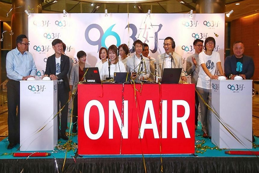 SPH chief executive Ng Yat Chung (far left), deputy CEO Anthony Tan (second left), head of Chinese Media Group Lee Hui Ling (second right) and general manager of SPH Radio Sim Hong Huat (far right) were on hand to launch the new Mandopop radio statio