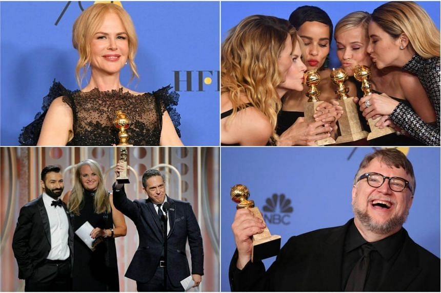 (Clockwise) Nicole Kidman, Actresses Laura Dern, Nicole Kidman, Zoe Kravitz, Reese Witherspoon and Shailene Woodley, and directors Guillermo del Toro and Lee Unkrich were among the winners at the 75th Annual Golden Globe Awards.