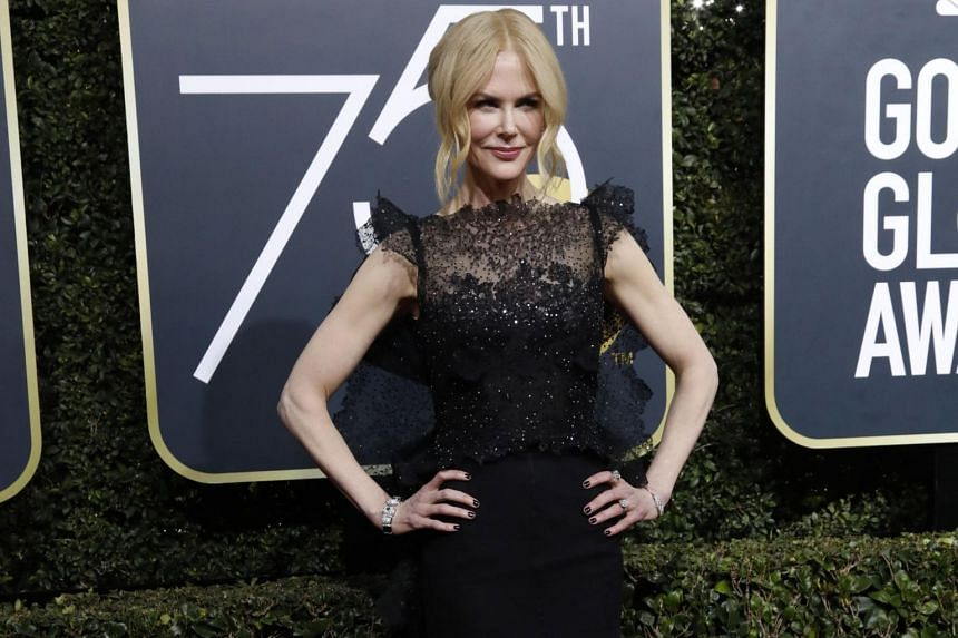 Actress Nicole Kidman at the red carpet of the 75th Annual Golden Globe Awards.