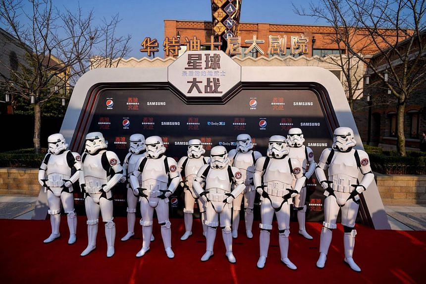 Stormtroopers pose at the red carpet for the Chinese premiere of Star Wars: The Last Jedi at the Shanghai Disney Resort, on Dec 20, 2017.