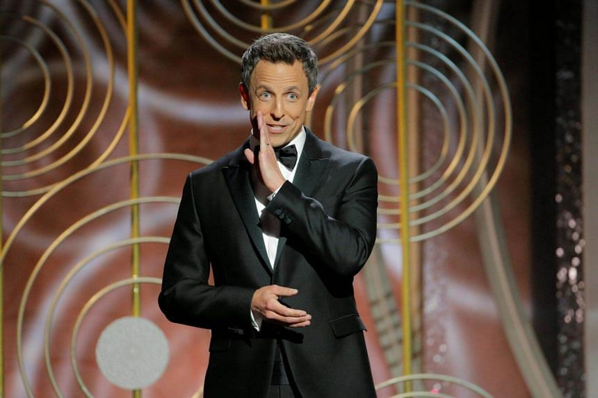 Host Seth Meyers at the 75th Golden Globe Awards in Beverly Hills.