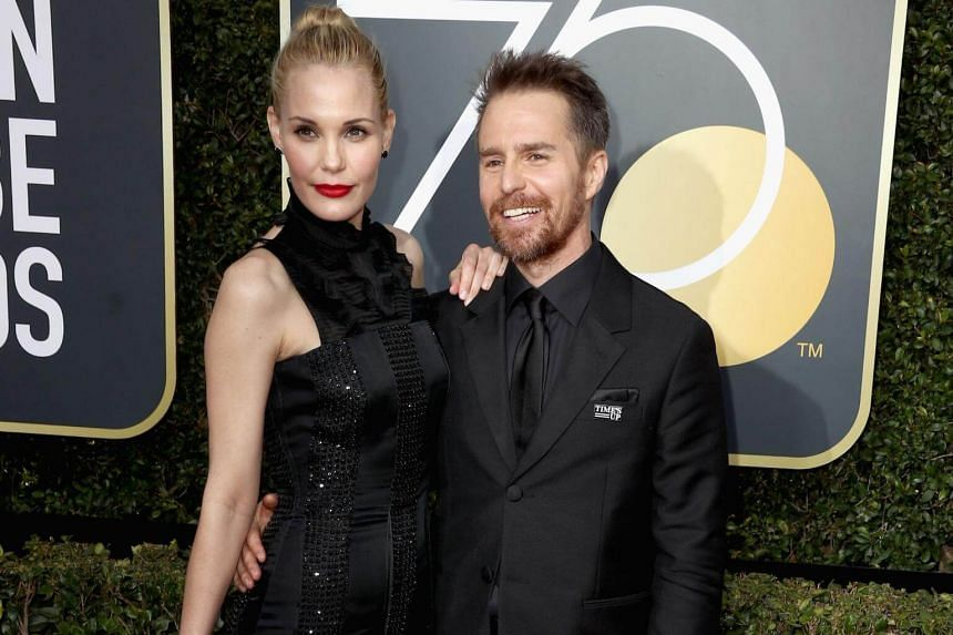 Sam Rockwell and Leslie Bibb at the red carpet of the 75th Annual Golden Globe Awards.