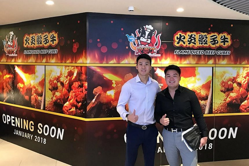 Co-owners Sean Lee (left) and Cheo Tian Feng are opening Huoyanshaiziniu, which sells flamed, diced beef cubes, on Jan 20.