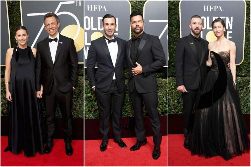 (From left) Alexi Ashe and Seth Meyers, Jwan Yosef and singer Ricky Martin, and singer Justin Timberlake with actress Jessica Biel. Men and women showed support for the Time's Up Campaign, by dressing in black at the Golden Globes' red carpet.